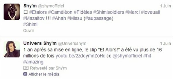 "[ 1 an apr�s sa mise en ligne ... • Le tube de Shy'm ""Et Alors!"" totalise plus de 16 million de vues sur Youtube ]"